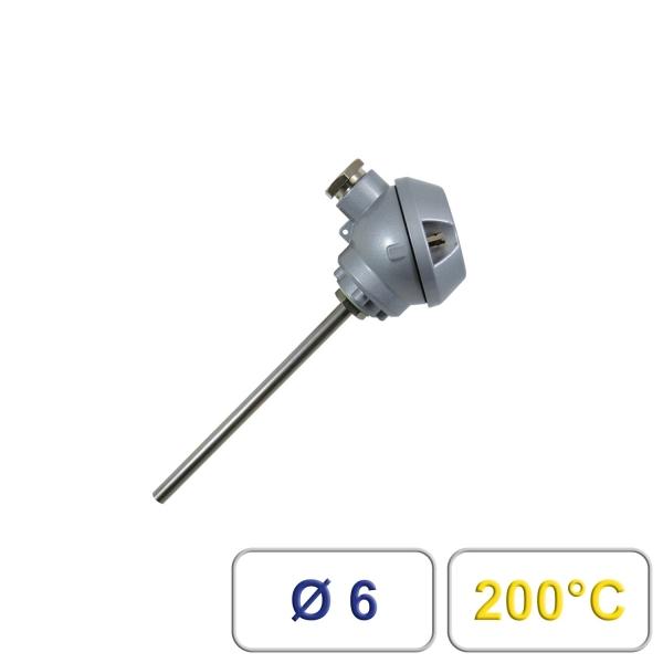 Tauchfühler mit Anschlusskopf Form J 200°C