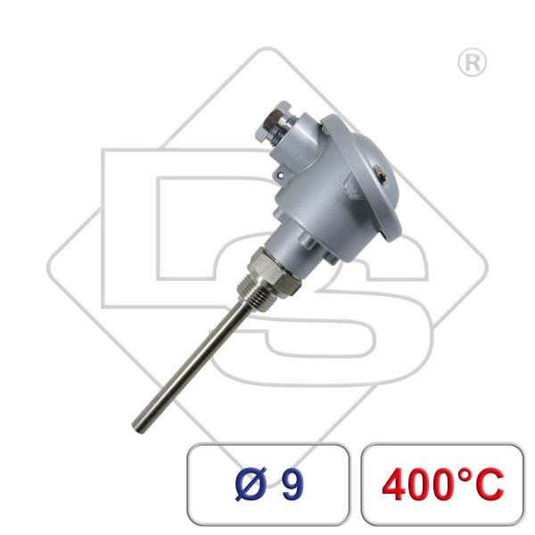 """Einschraubfühler mit Anschlusskopf Form B G1/2"""" 9mm 400°C"""